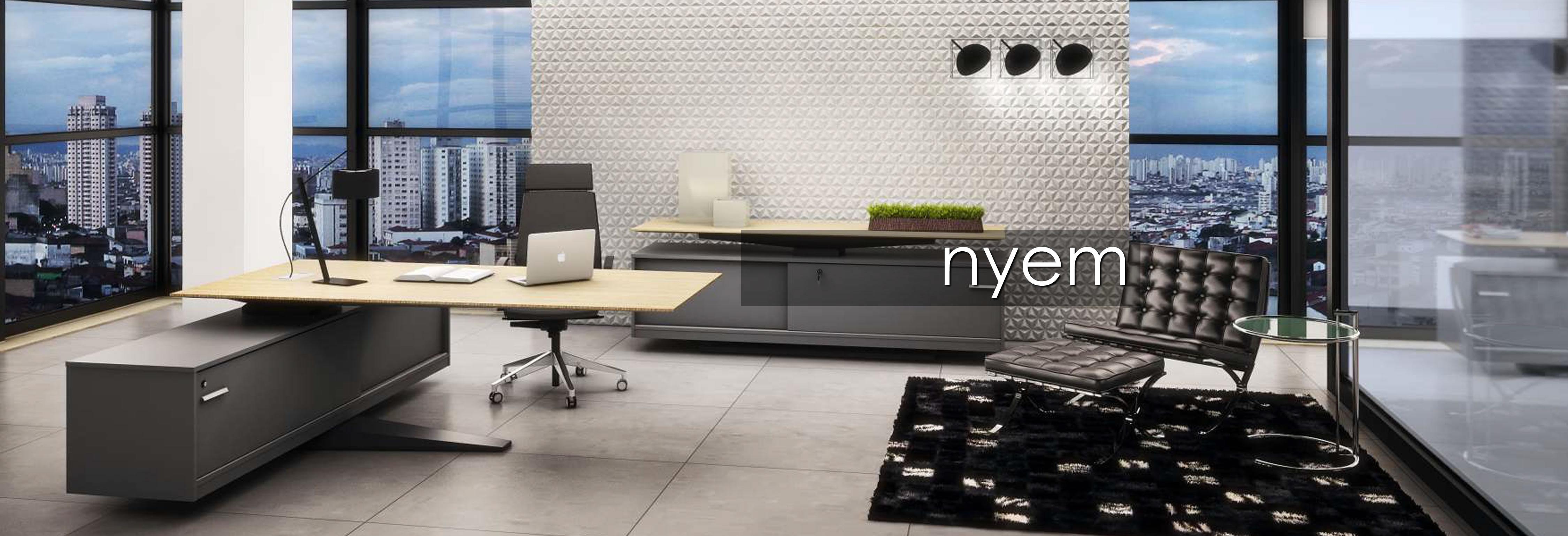 Mesa  ejecutiva gerencial con apoyo de  pie en aluminio y  armario credenza con puerta corrediza